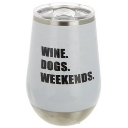Meteor 12 oz Stainless Steel Wine Dogs Weekends Wine Tumbler