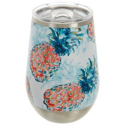 Tropix 12 oz. Stainless Steel Pineapples Wine Tumbler