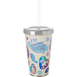 Chubby Mermaid 17 oz Stainless Steel Sticker Tumbler & Straw
