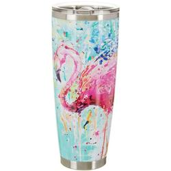 30 oz. Stainless Steel Splash Flamingo Tumbler
