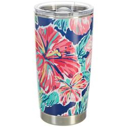 20 oz. Stainless Steel Hibiscus Tumbler