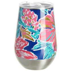 12 oz. Stainless Steel Hibiscus Wine Tumbler