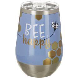 12 oz. Stainless Steel Bee Happy Wine Tumbler
