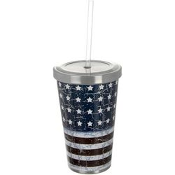 17 oz. Stainless Steel Old Flag Tumbler & Straw