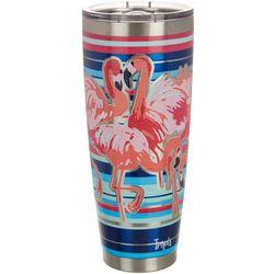 30 oz. Stainless Steel Flamingo Stripe Travel Tumbler