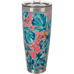 Tropix 30 oz. Stainless Steel Floral Palm Tumbler