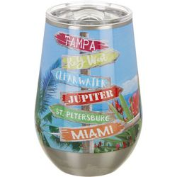 Tropix 12 oz. Stainless Steel Beach Sign Wine Tumbler