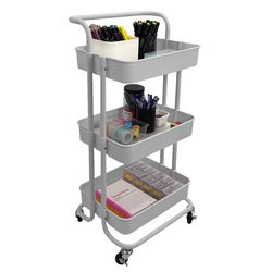 Home Basics 3 Tier Rolling Utility Cart