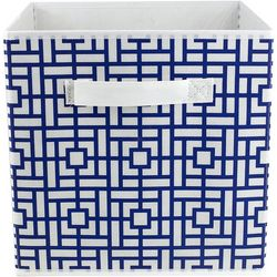 Collapsible Blue Geo Print Storage Cube