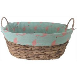 Flamingo Lined Woven Rattan Decorative Basket