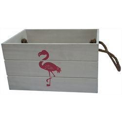 Flamingo Wood Decorative Crate