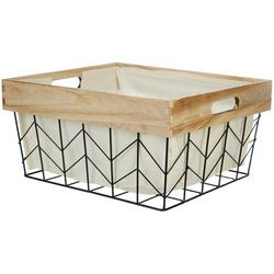 Small Wire Wood Border Shelf Tote