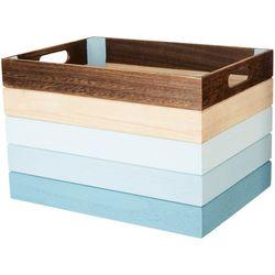 Coastal Home Medium Stripe Wooden Basket