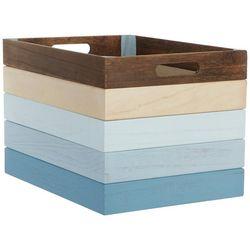 Coastal Home Large Stripe Decorative Wood Basket