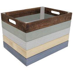 Coastal Home Small Stripe Wooden Basket