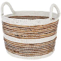 Coastal Home Medium Stripe Raffia Round Basket