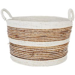 Coastal Home Extra Large Stripe Raffia Round Basket