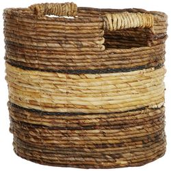 Coastal Home 14.5'' Banana Raffia Round Basket