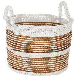 Coastal Home Small Stripe Raffia Round Basket