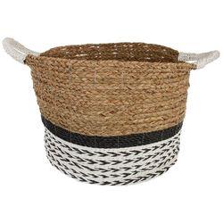 Coastal Home Large Arrow Raffia Round Basket