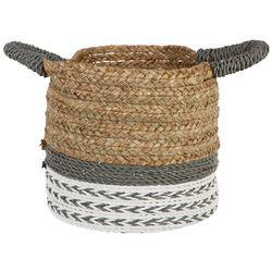 Coastal Home Extra Small Arrow Raffia Round Basket