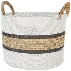 Coastal Home Large Stripe Seagrass Basket