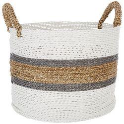 Coastal Home Medium Stripe Raffia Seagrass Round Basket