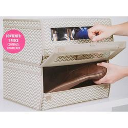 Chevron Print Stackable Shoe Bin