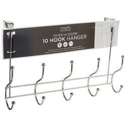 10 Hook Over The Door Metal Hanging Rack