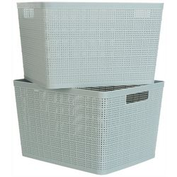 Azzure Kenton Grey 2-pc. Basketweave Storage Bin Set