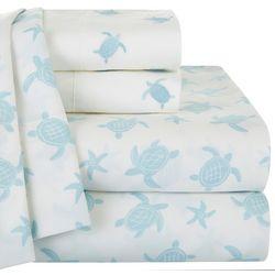 Coastal Home Turtle Print & Embroidered Sheet Set