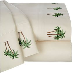 Coastal Home Palm Trees Embroidered Sheet Set