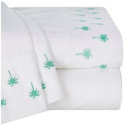 Embroidered Palm Trees Microfiber Sheet Set