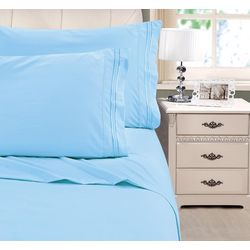 Cathay Home Embroidered Microfiber Sheet Set