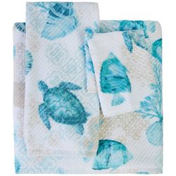 Coastal Home Scrapbook Turtle Bath Towel Collection