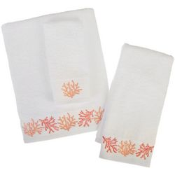 Coastal Home Coral Bliss Embroidered Bath Towel Collection