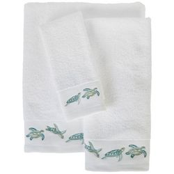 Embroidered Turtle Waves Towel Collection