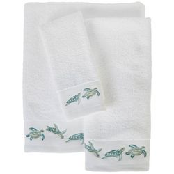 Coastal Home Embroidered Turtle Waves Towel Collection