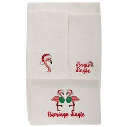 Brighten the Season 3-pc. Flamingo Jingle Bath Towel Set