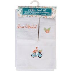 3-pc. Flamingo Bike Towel Set