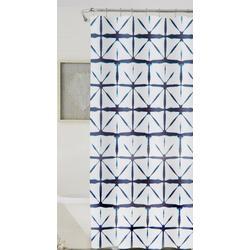 Shibori Geometric Shower Curtain