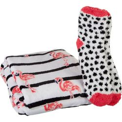 Coastal Home Flamingo Stripe Throw & Sock Set
