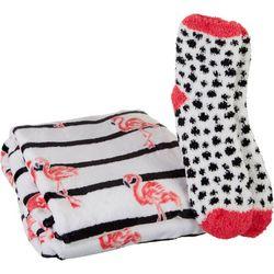 Flamingo Stripe Throw & Sock Set