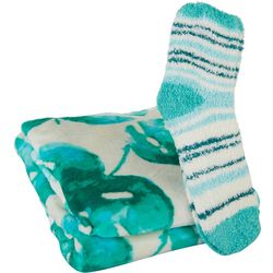 Coastal Home Watercolor Palm Leaf Throw & Sock Set