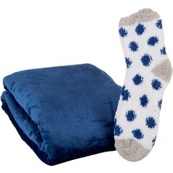 Solid Throw & Dot Sock Set