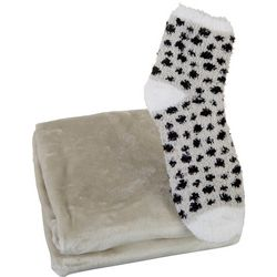 Solid Throw & Dotted Sock Set