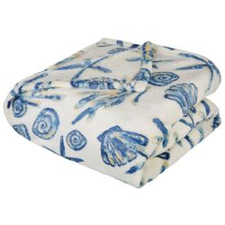 Coastal Print Plush Blanket