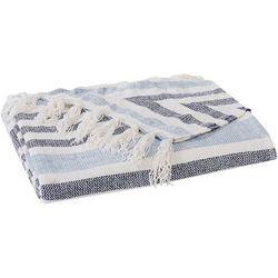 Striped Chenille Sweater Fringe Trim Throw