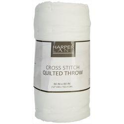 Harper Lane Cross Stitch Quilted Throw