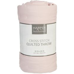 Harper Lane Cross Stitch Quilted Throw